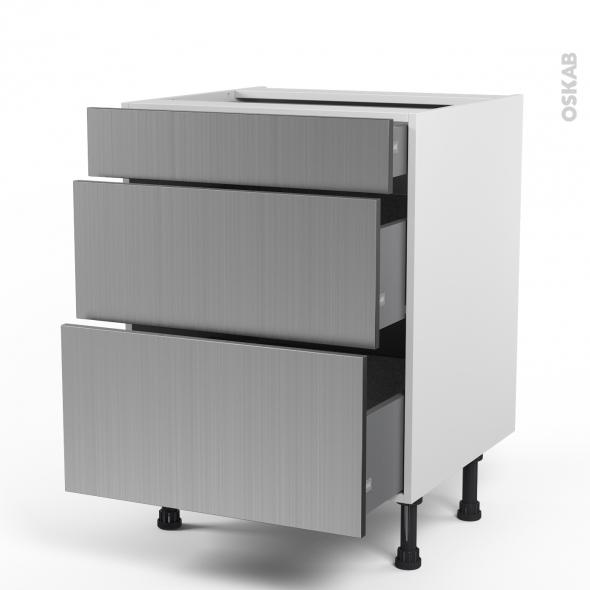 STILO Inox - Meuble casserolier  - 3 tiroirs - L60xH70xP58