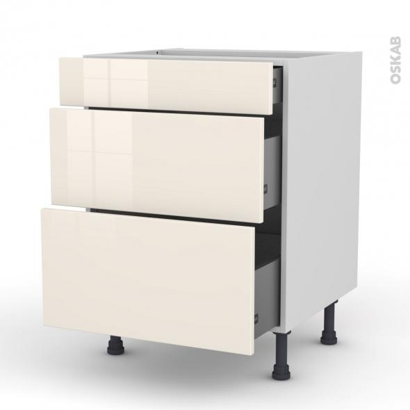 Meuble de cuisine - Casserolier - KERIA Ivoire - 3 tiroirs - L60 x H70 x P58 cm