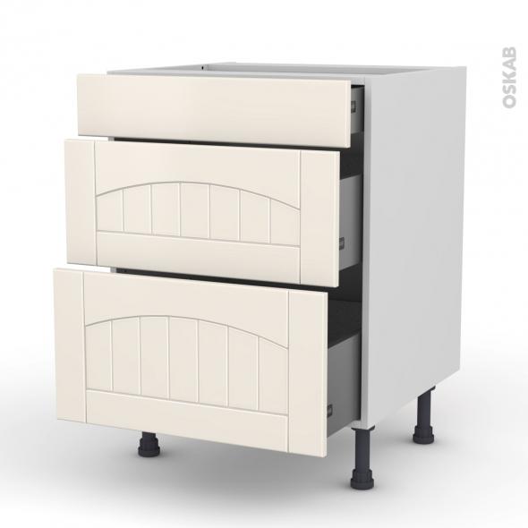 SILEN Ivoire - Meuble casserolier  - 3 tiroirs - L60xH70xP58