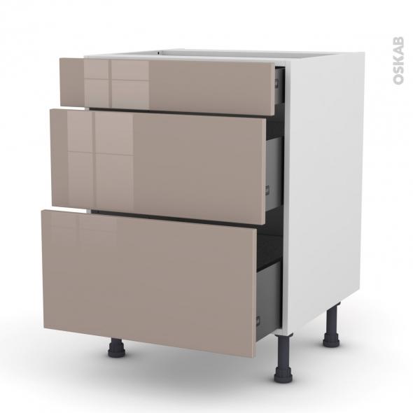 Meuble de cuisine - Casserolier - KERIA Moka - 3 tiroirs - L60 x H70 x P58 cm
