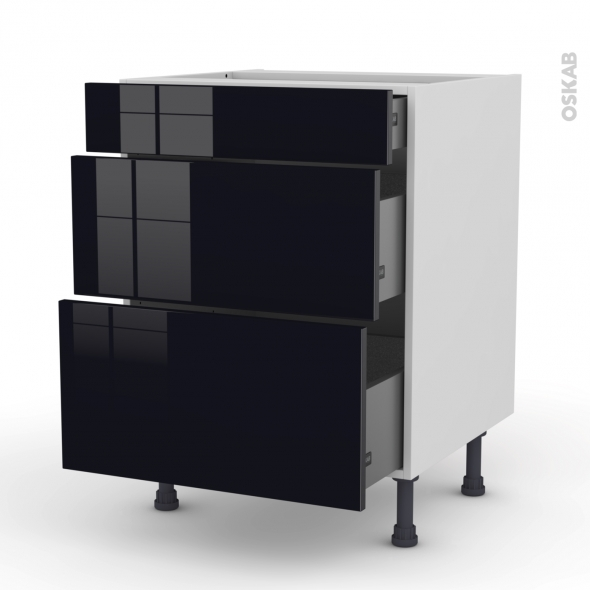 Meuble de cuisine - Casserolier - KERIA Noir - 3 tiroirs - L60 x H70 x P58 cm