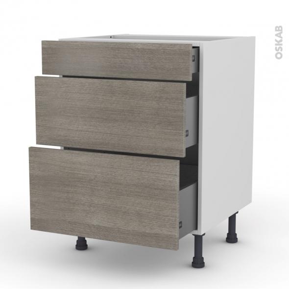 Meuble de cuisine - Casserolier - STILO Noyer Naturel - 3 tiroirs - L60 x H70 x P58 cm