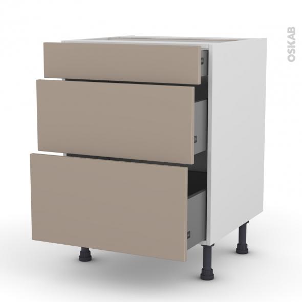 Meuble de cuisine - Casserolier - GINKO Taupe - 3 tiroirs - L60 x H70 x P58 cm