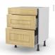 BASILIT Bois Brut - Meuble casserolier  - 3 tiroirs - L60xH70xP58