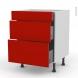 GINKO Rouge - Meuble casserolier  - 3 tiroirs - L60xH70xP58