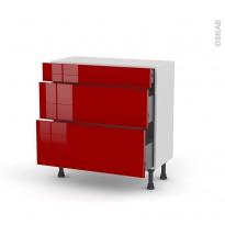 Meuble de cuisine - Casserolier - STECIA Rouge - 3 tiroirs - L80 x H70 x P37 cm