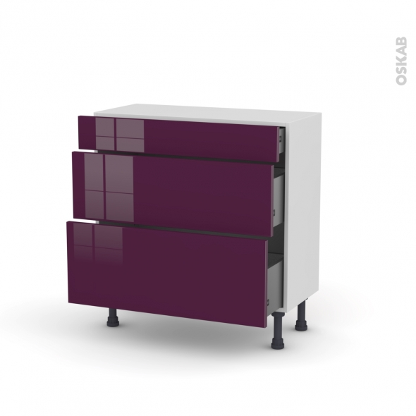 Meuble de cuisine - Casserolier - KERIA Aubergine - 3 tiroirs - L80 x H70 x P37 cm