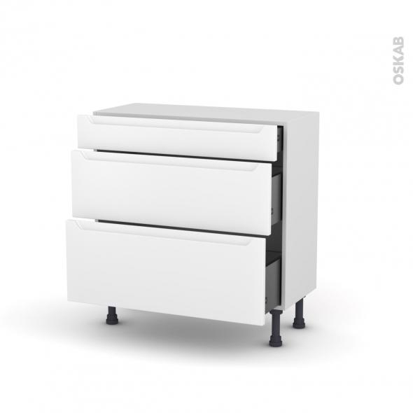 Meuble de cuisine - Casserolier - PIMA Blanc - 3 tiroirs - L80 x H70 x P37 cm