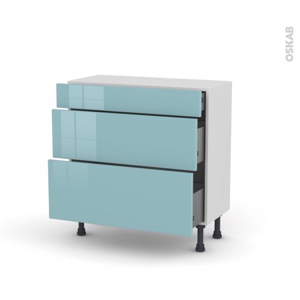 Meuble de cuisine - Casserolier - KERIA Bleu - 3 tiroirs - L80 x H70 x P37 cm