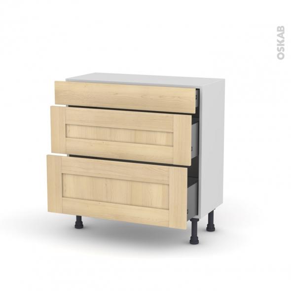 BETULA Bouleau - Meuble casserolier - 3 tiroirs - L80xH70xP37