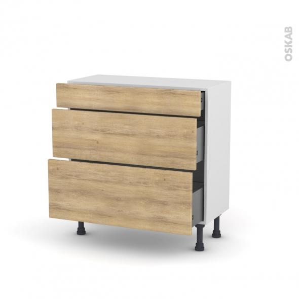 Meuble de cuisine - Casserolier - HOSTA Chêne naturel - 3 tiroirs - L80 x H70 x P37 cm