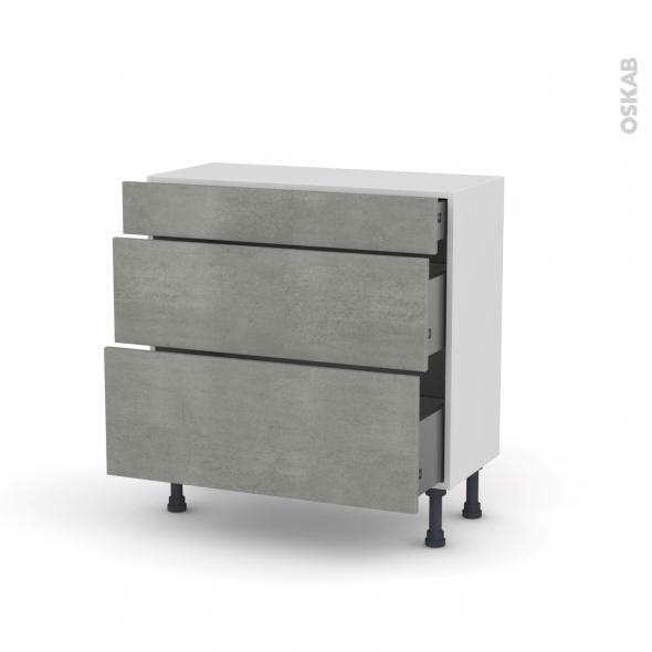 FAKTO Béton - Meuble casserolier - 3 tiroirs - L80xH70xP37