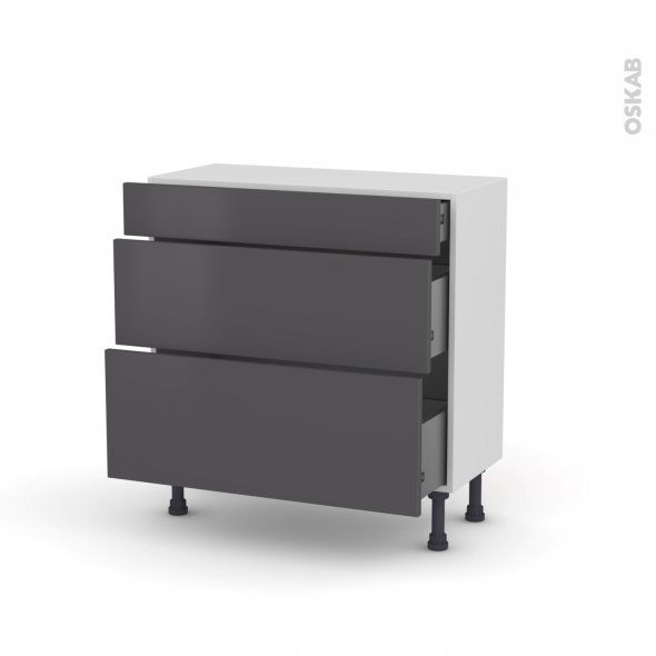 Meuble de cuisine - Casserolier - GINKO Gris - 3 tiroirs - L80 x H70 x P37 cm
