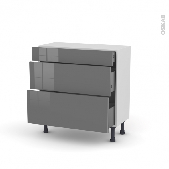 STECIA Gris - Meuble casserolier - 3 tiroirs - L80xH70xP37