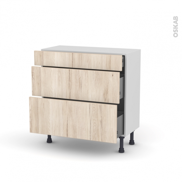 IKORO Chêne clair - Meuble casserolier - 3 tiroirs - L80xH70xP37