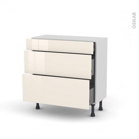 KERIA Ivoire - Meuble casserolier - 3 tiroirs - L80xH70xP37