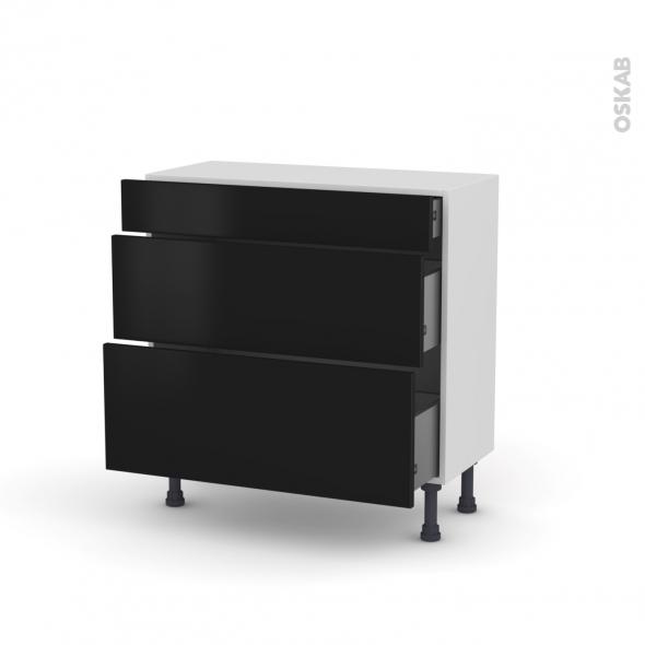 Meuble de cuisine - Casserolier - GINKO Noir - 3 tiroirs - L80 x H70 x P37 cm
