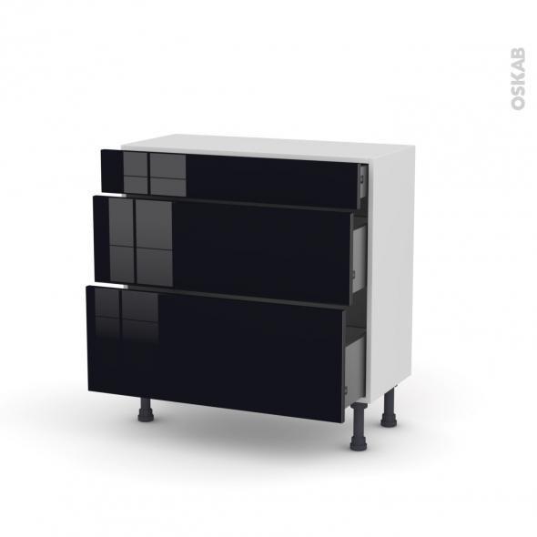 Meuble de cuisine - Casserolier - KERIA Noir - 3 tiroirs - L80 x H70 x P37 cm