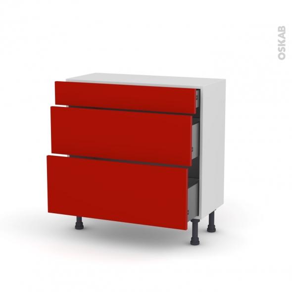 GINKO Rouge - Meuble casserolier - 3 tiroirs - L80xH70xP37