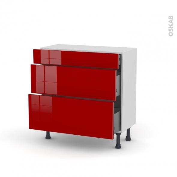 STECIA Rouge - Meuble casserolier - 3 tiroirs - L80xH70xP37