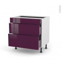 Meuble de cuisine - Casserolier - KERIA Aubergine - 3 tiroirs - L80 x H70 x P58 cm