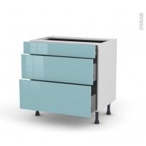 Meuble de cuisine - Casserolier - KERIA Bleu - 3 tiroirs - L80 x H70 x P58 cm