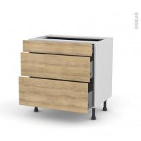 Meuble de cuisine - Casserolier - HOSTA Chêne naturel - 3 tiroirs - L80 x H70 x P58 cm