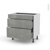 Meuble de cuisine - Casserolier - FAKTO Béton - 3 tiroirs - L80 x H70 x P58 cm