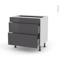 Meuble de cuisine - Casserolier - GINKO Gris - 3 tiroirs - L80 x H70 x P58 cm