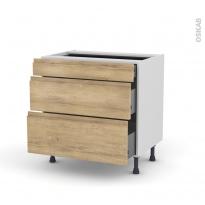 Meuble de cuisine - Casserolier - IPOMA Chêne naturel - 3 tiroirs - L80 x H70 x P58 cm