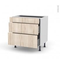Meuble de cuisine - Casserolier - IKORO Chêne clair - 3 tiroirs - L80 x H70 x P58 cm