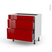 Meuble de cuisine - Casserolier - STECIA Rouge - 3 tiroirs - L80 x H70 x P58 cm
