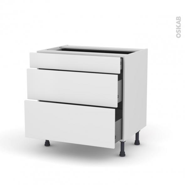 Meuble de cuisine - Casserolier - GINKO Blanc - 3 tiroirs - L80 x H70 x P58 cm