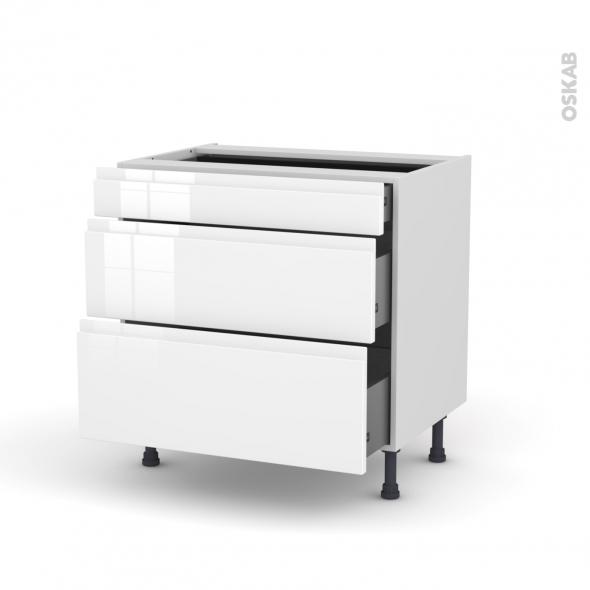 Meuble de cuisine - Casserolier - IPOMA Blanc - 3 tiroirs - L80 x H70 x P58 cm