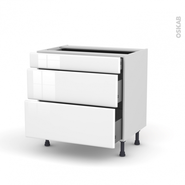 Meuble de cuisine - Casserolier - IRIS Blanc - 3 tiroirs - L80 x H70 x P58 cm