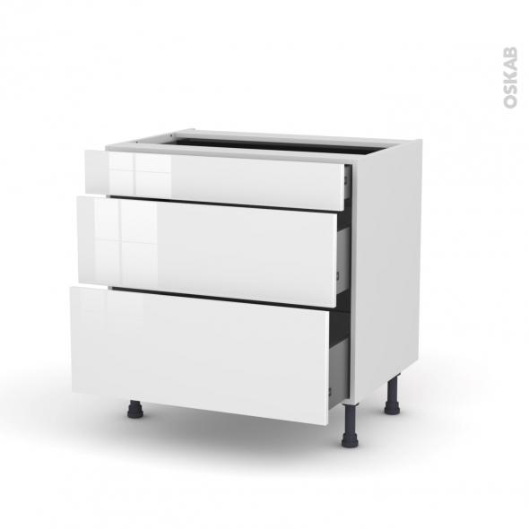 Meuble de cuisine - Casserolier - STECIA Blanc - 3 tiroirs - L80 x H70 x P58 cm