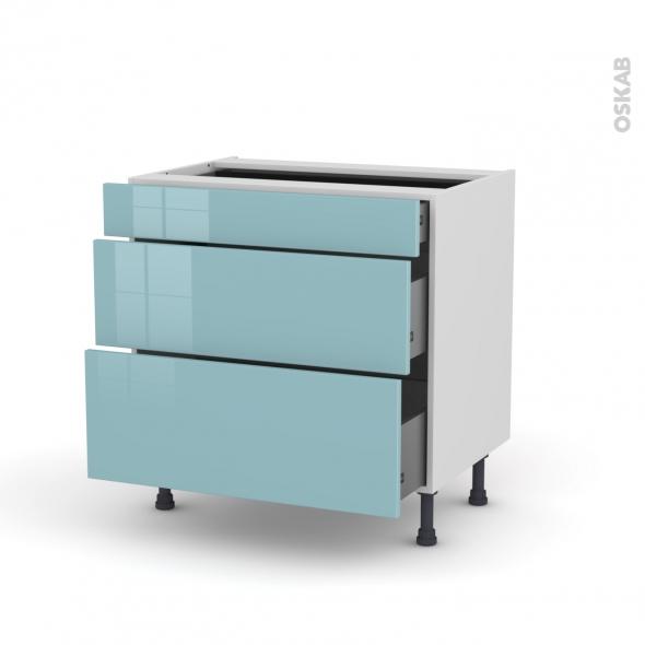 KERIA Bleu - Meuble casserolier - 3 tiroirs - L80xH70xP58