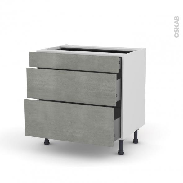 FAKTO Béton - Meuble casserolier - 3 tiroirs - L80xH70xP58