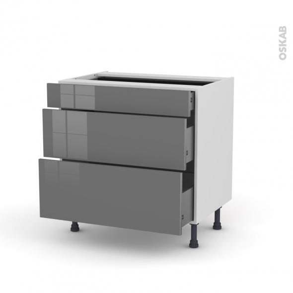 Meuble de cuisine - Casserolier - STECIA Gris - 3 tiroirs - L80 x H70 x P58 cm