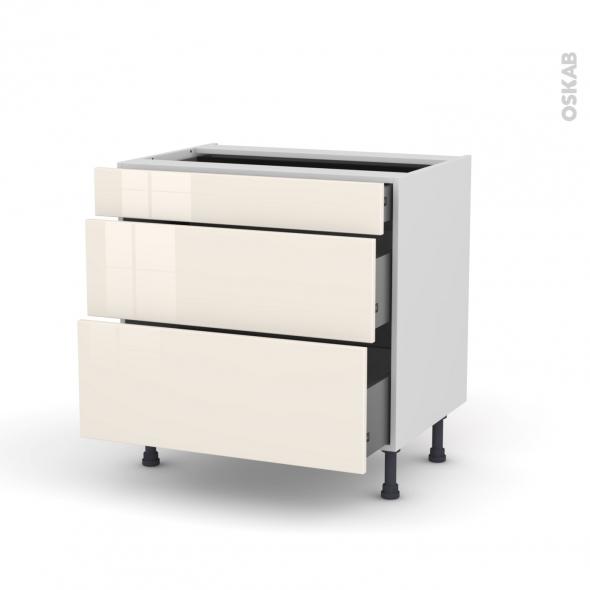 Meuble de cuisine - Casserolier - KERIA Ivoire - 3 tiroirs - L80 x H70 x P58 cm