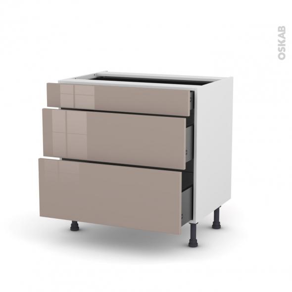 KERIA Moka - Meuble casserolier - 3 tiroirs - L80xH70xP58