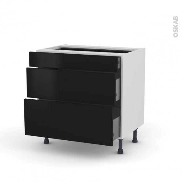 GINKO Noir - Meuble casserolier - 3 tiroirs - L80xH70xP58