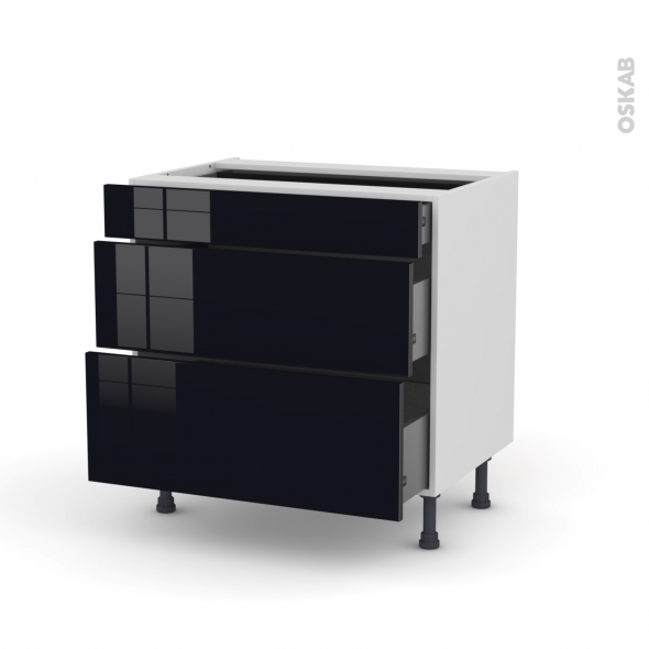Meuble de cuisine - Casserolier - KERIA Noir - 3 tiroirs - L80 x H70 x P58 cm