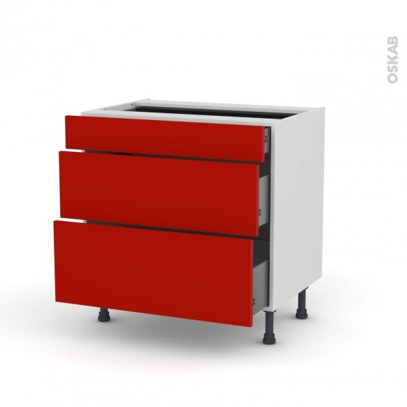 GINKO Rouge - Meuble casserolier - 3 tiroirs - L80xH70xP58