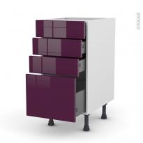 Meuble de cuisine - Casserolier - KERIA Aubergine - 4 tiroirs - L40 x H70 x P58 cm