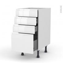 Meuble de cuisine - Casserolier - IPOMA Blanc - 4 tiroirs - L40 x H70 x P58 cm
