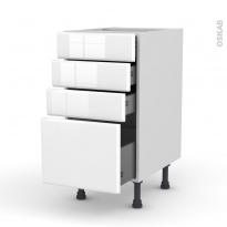 Meuble de cuisine - Casserolier - IRIS Blanc - 4 tiroirs - L40 x H70 x P58 cm