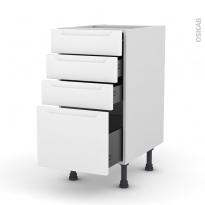 Meuble de cuisine - Casserolier - PIMA Blanc - 4 tiroirs - L40 x H70 x P58 cm