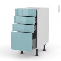 KERIA Bleu - Meuble casserolier  - 4 tiroirs - L40xH70xP58