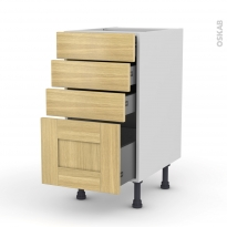 BASILIT Bois Brut - Meuble casserolier  - 4 tiroirs - L40xH70xP58